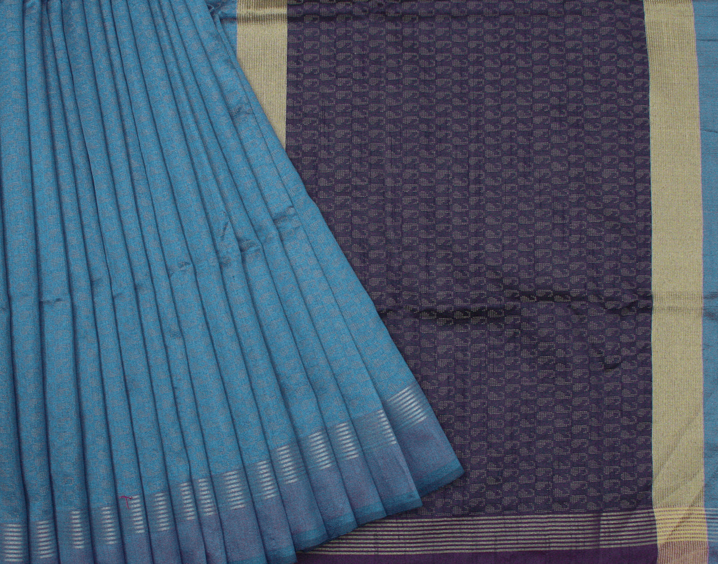 Handloom Blue Kota Dupion Saree With Fringes