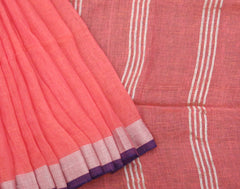 Handloom Pure Linen Saree With Pompoms