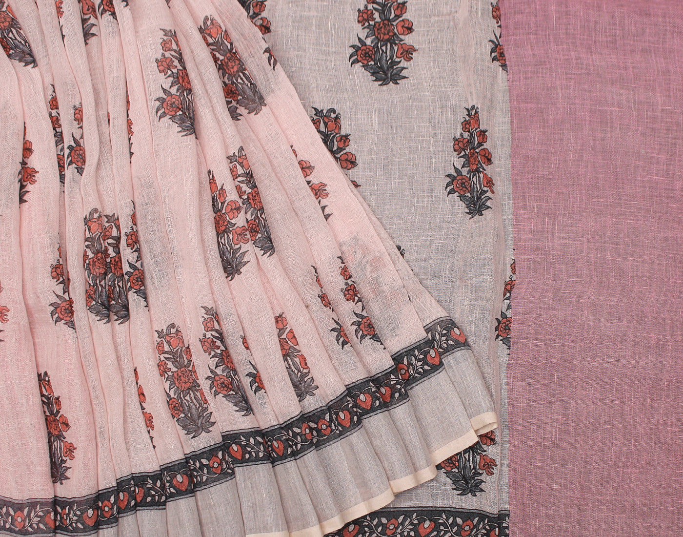 Pink Handloom Linen Saree With Contrast Border