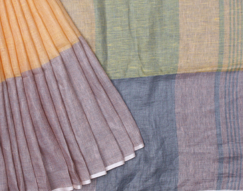 Multicolor Handloom Linen Saree With Fringes
