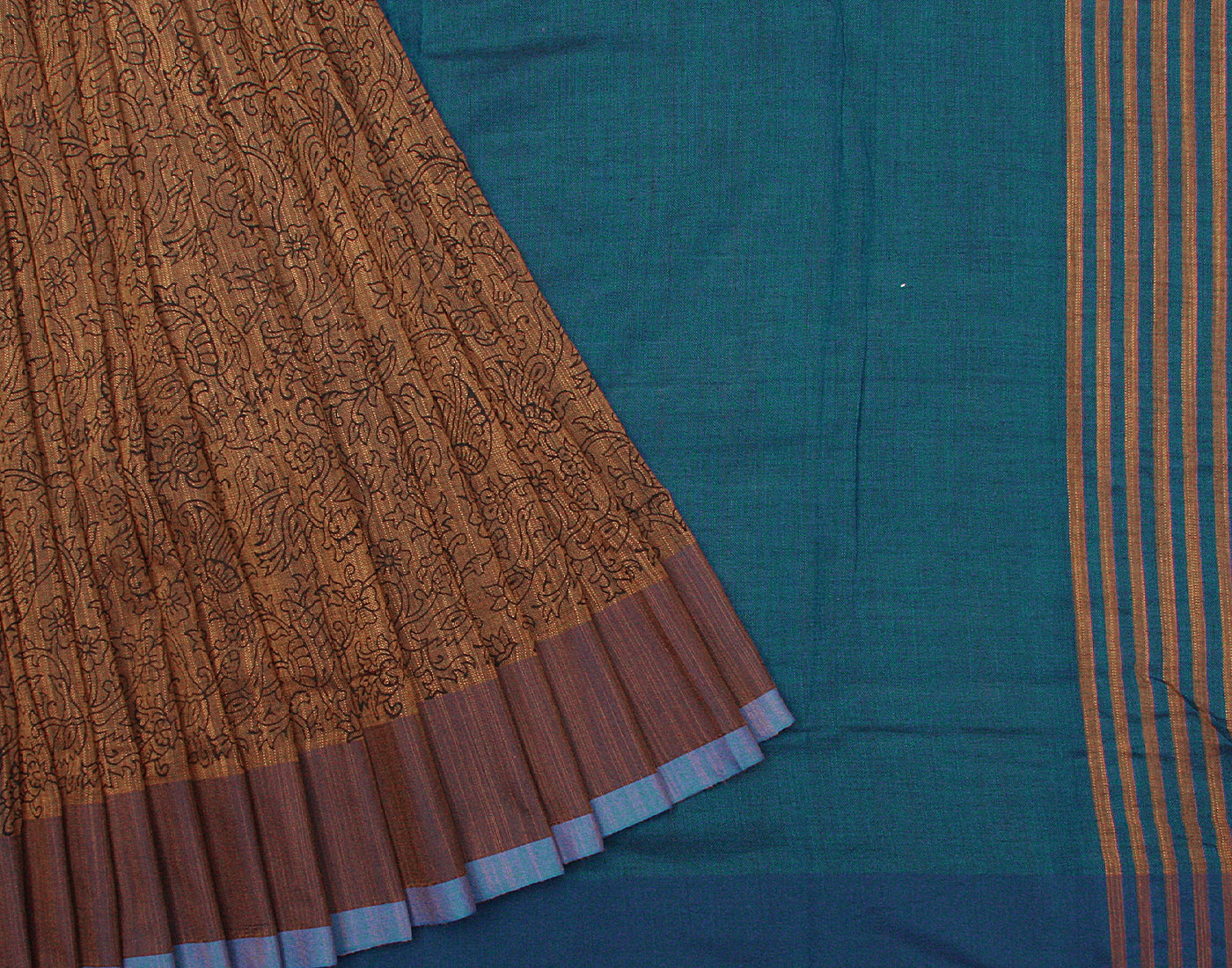 Handloom Brown 'N' Blue Floral Printed Saree With Tassels