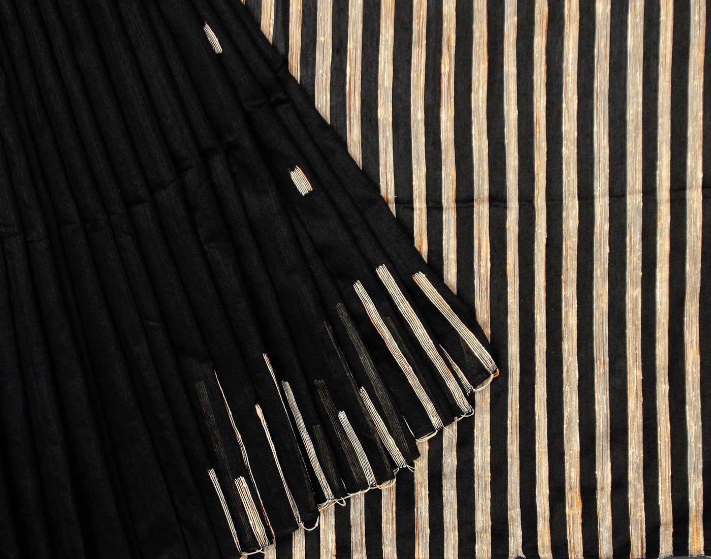 Black 'N' Cream Cotton Striped Saree With Fringes