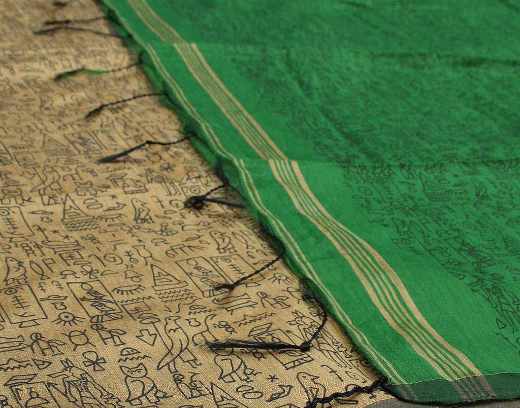 Green Cotton Saree With Fringes