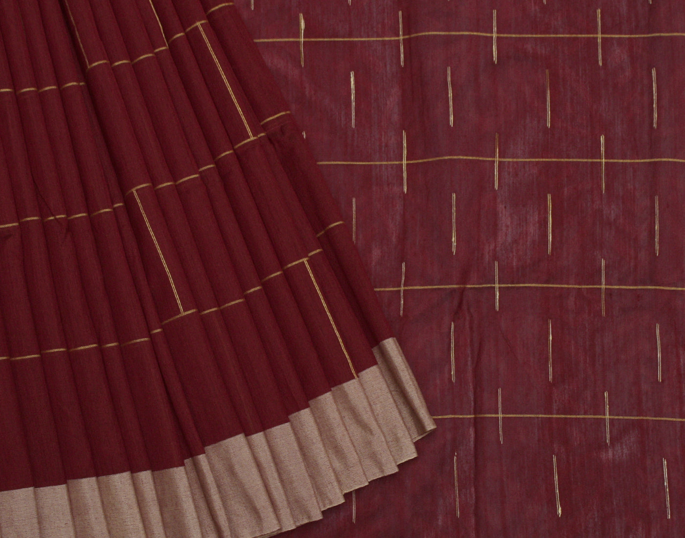 Brick Red Cotton Striped Saree With Fringes