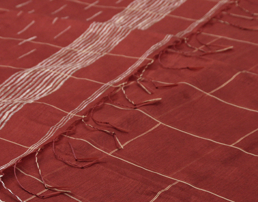 Red Cotton Striped Saree With Fringes
