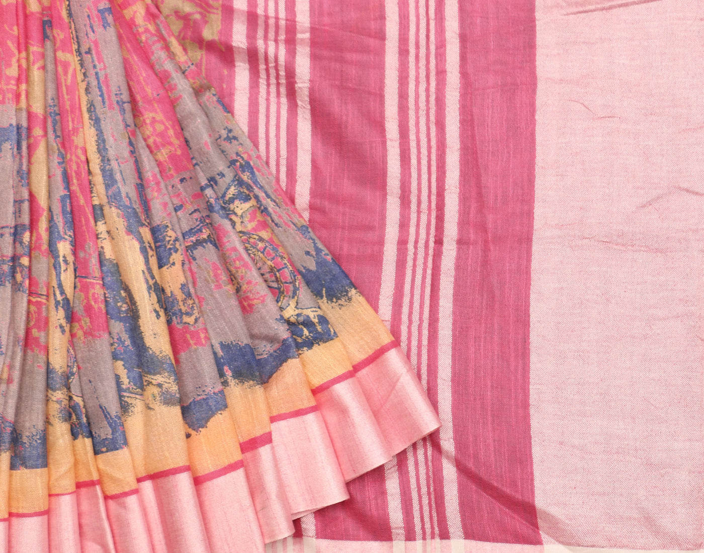 Pastel Pink Printed Cotton Linen Saree