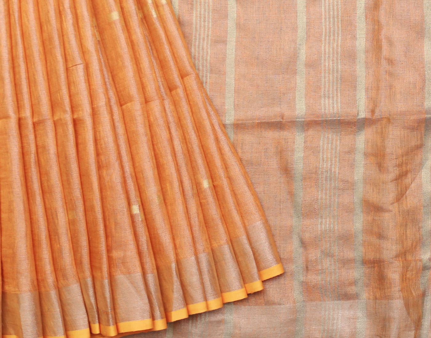 Pastel Orange Handloom Linen Saree