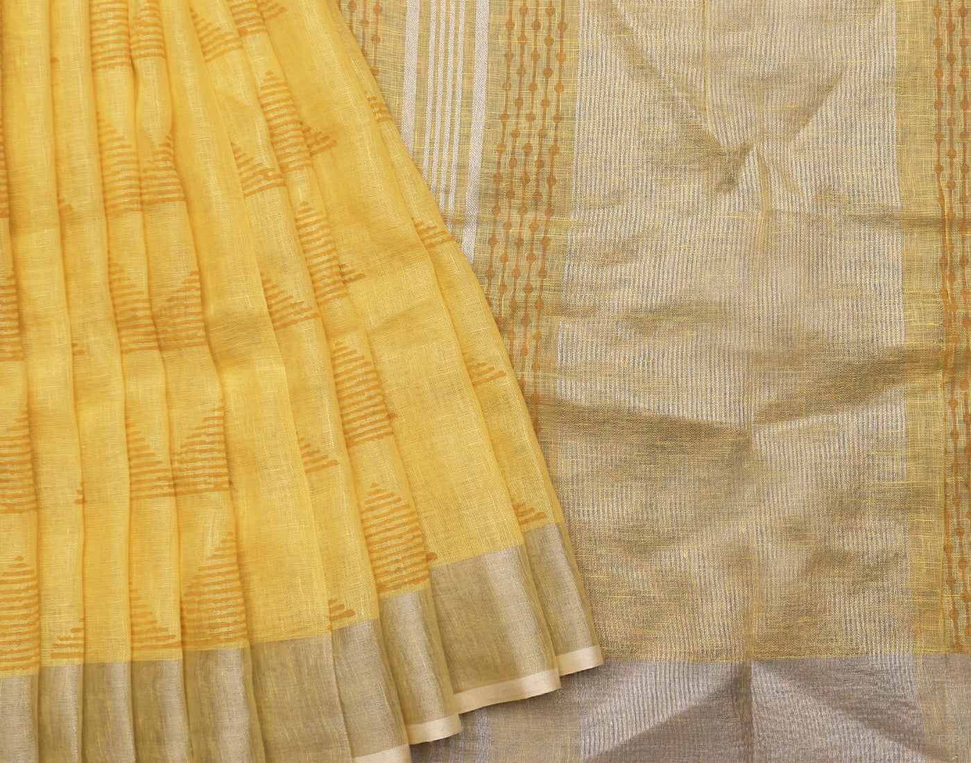 Pastel Yellow Handloom Linen Saree