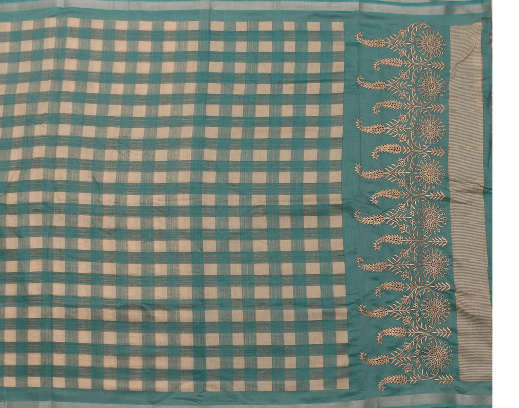 Checked Linen Saree with Embroidery Work