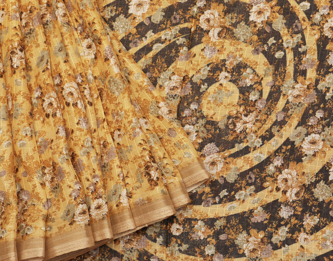 Chanderi Checks with Traditional Prints  Brown Saree