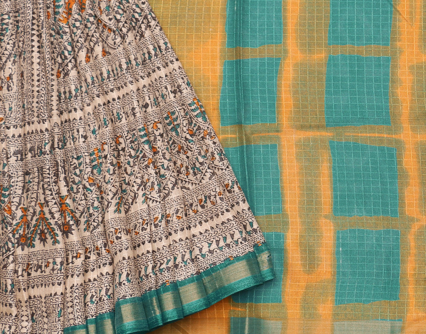 Chanderi Checks with Traditional Prints Saree