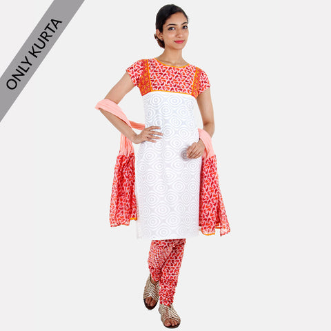 Fiesta Orange Tri Arc With White Printed Kurta