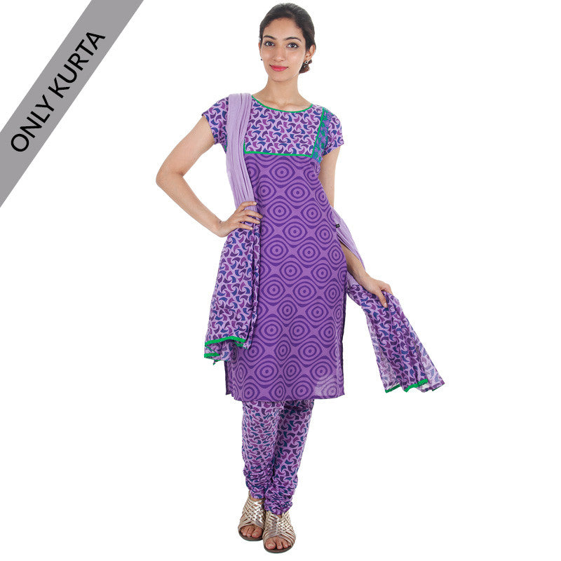 royal lilac tri arc estyle cotton printed kurta