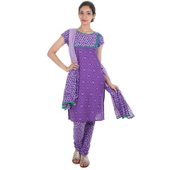 3Pce Suit - Royal Lilac Tri Arc eSTYLe Cotton Printed Kurta, Chudi and Cotton Dupatta