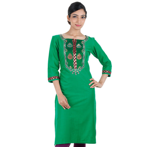 Green Elegant Cotton Kurta With Brocade Zari Yoke