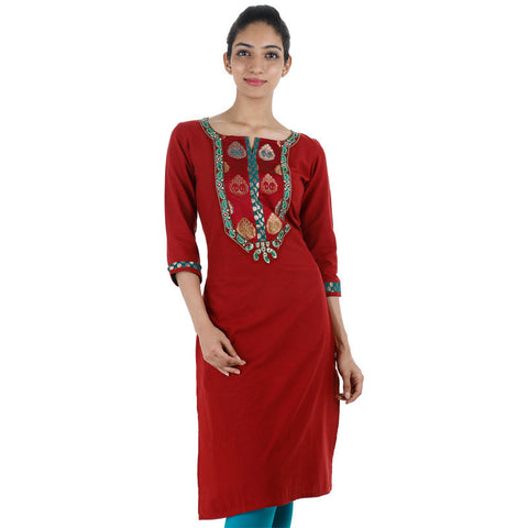 Bright Red Cotton Kurta From eSTYLe With Brocade Yoke