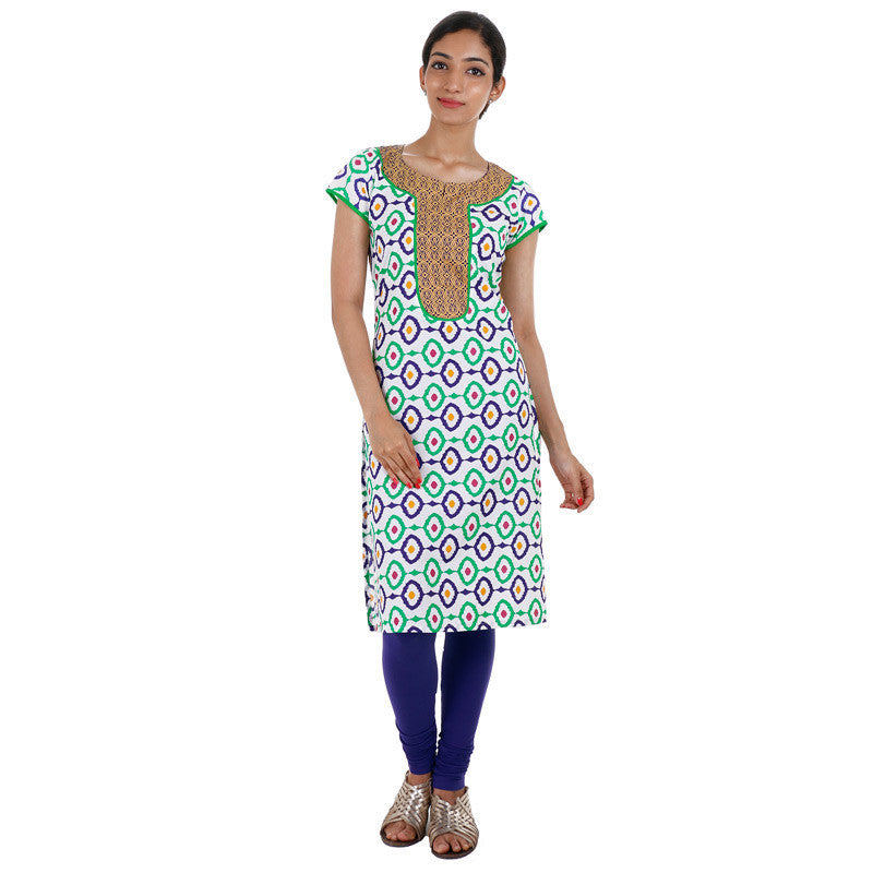 Blue 'N Green Printed Cotton Kurta From eSTYLe