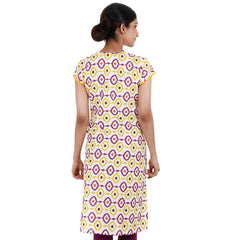 Yellow 'N Purple Cotton Kurta From eSTYLe