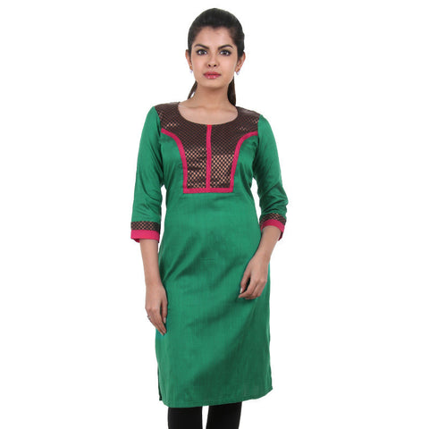 Verdant Green With Black Silk Cotton Kurta From eSTYLe