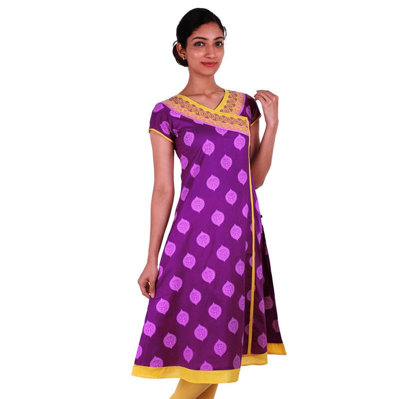 Lavender And Yellow Angarkha Printed Cotton Kurta