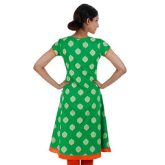 eSTYLe Angarkha Printed Kelly Green With Orange Cotton Kurta