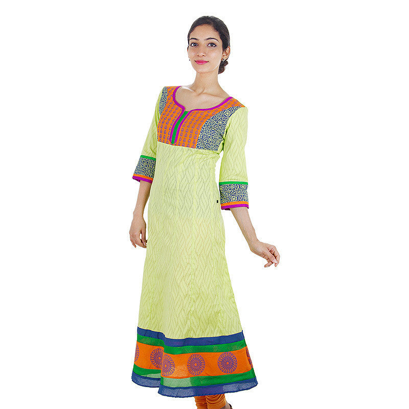 Lime Cream Jacquard Cotton Anarkali Kurta With Wide Flare From eSTYLe