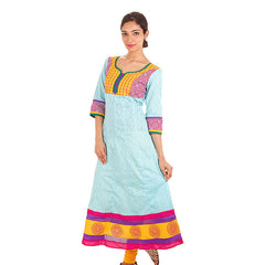 eSTYLe Jacquard Cotton Sky Blue Anarkali Kurta With Wide Flare