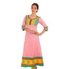 Peach Melba eSTYLe Jacquard Cotton Anarkali Kurta With Wide Flare