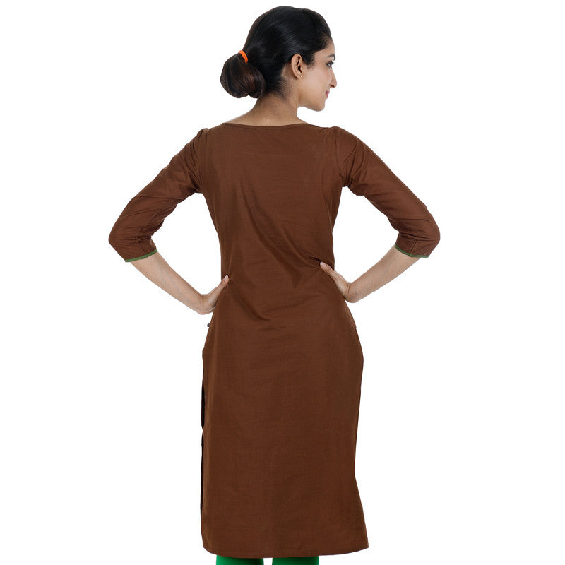 Bay Brown eSTYLe Cotton Kurta With Embroidered Yoke