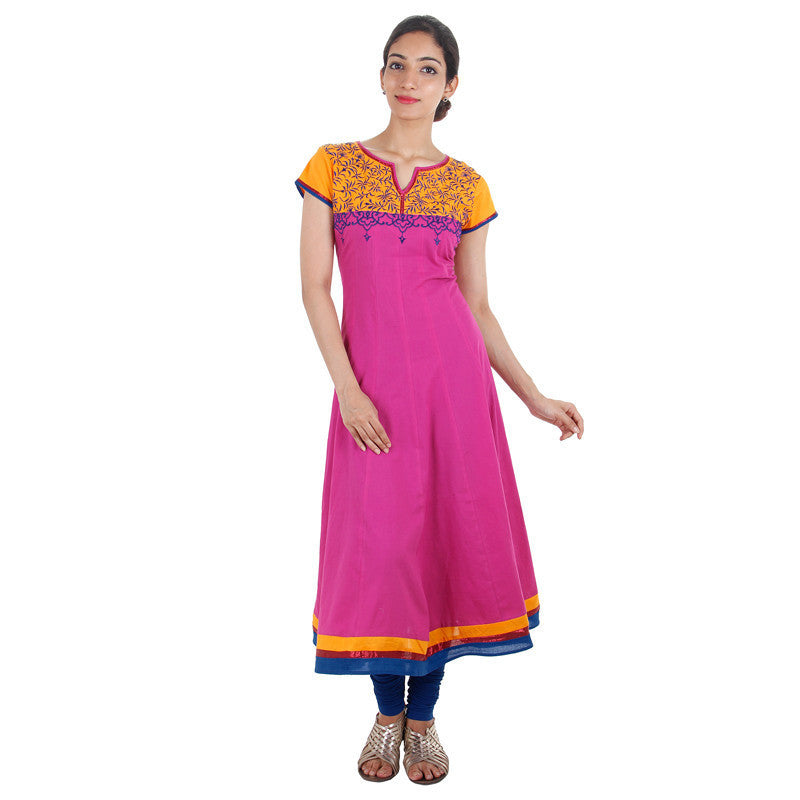 Anarkali Kurta With Embroidered Yoke In Rose Violet Shade