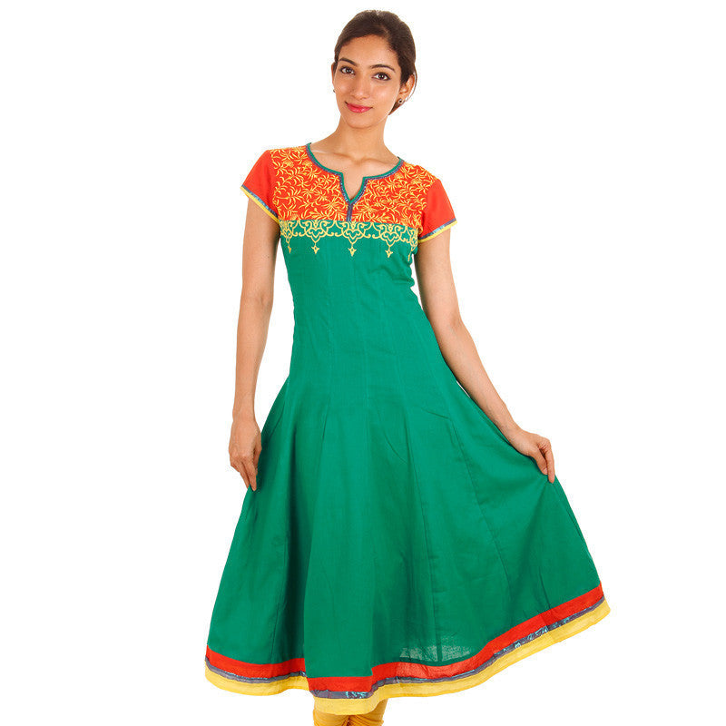 Peacock Green With Orange Embroidered Anarkali Kurta With Wide Flare