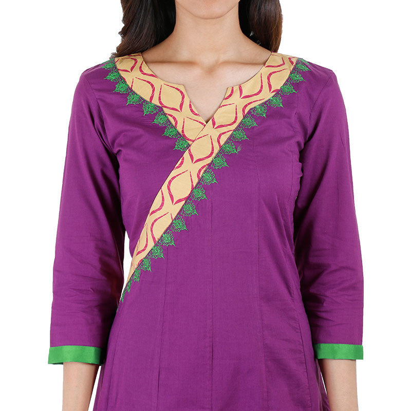 eSTYLe Purple Anarkali Kurta With Embroidered Flare