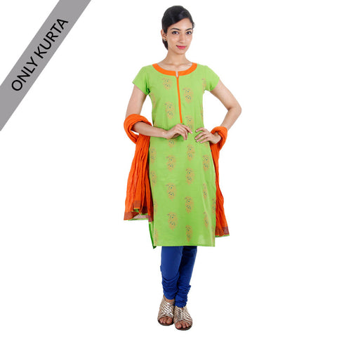 Green Cotton Printed Kurta With Contrast Neck Line