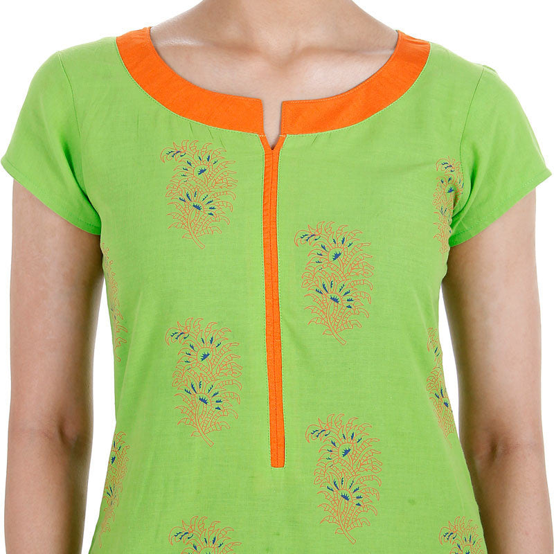 3Pce Suit - Green Cotton Printed Kurta With Contrast Neck Line, Chudi and Cotton Dupatta