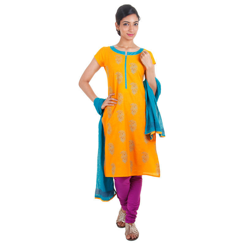 3Pce Suit - Yellow With Blue Cotton Printed Kurta, Chudi and Cotton Dupatta