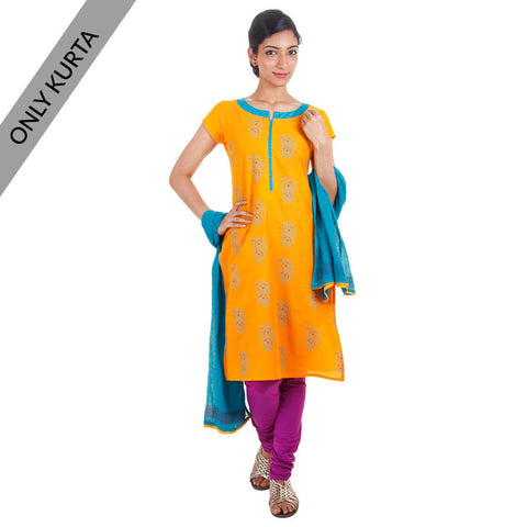 Yellow With Blue Cotton Printed Kurta
