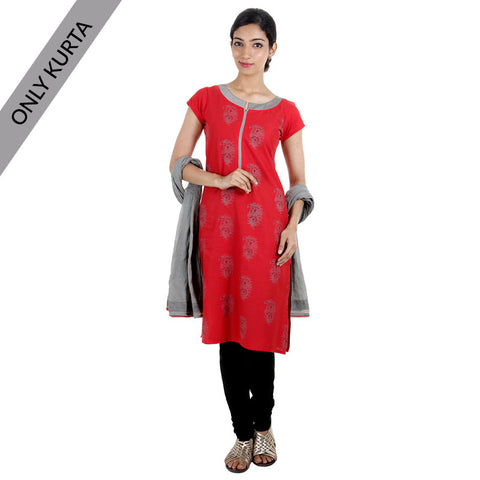 eSTYLe Red 'N Grey Cotton Printed Kurta