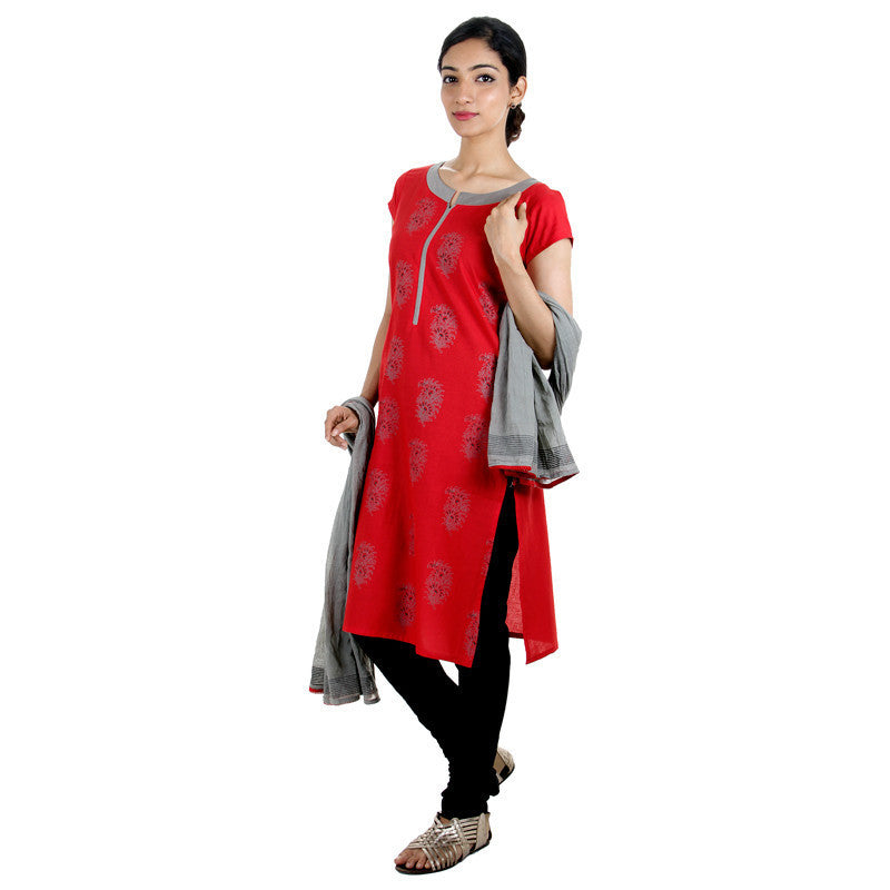 3Pce Suit - eSTYLe Red 'N Grey Cotton Printed Kurta, Chudi and Cotton Dupatta