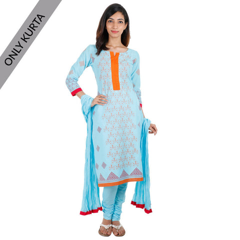 Angel Blue Cotton Printed Kurta