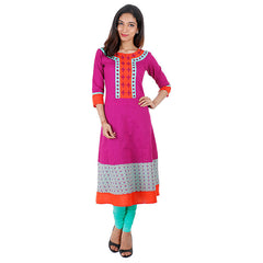 Anarkali Cotton  Kurta From eSTYLe With Embroidered Yoke In Grapewine Shade