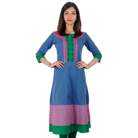 Blue Iris eSTYLe Cotton Anarkali Kurta With Printed Flare