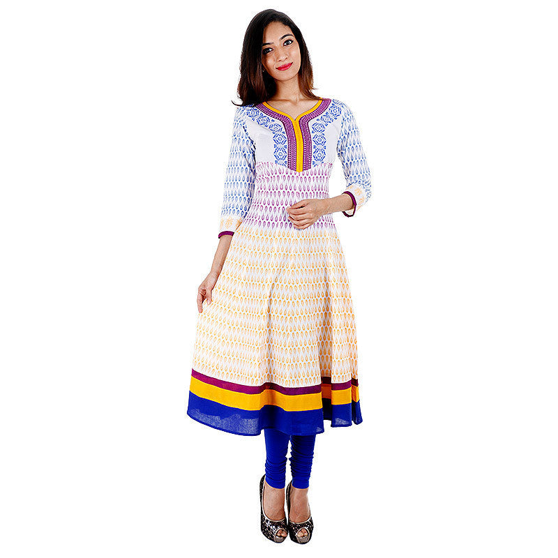 Snow White Grapewine Printed Anarkali Kurta With Wide Flare