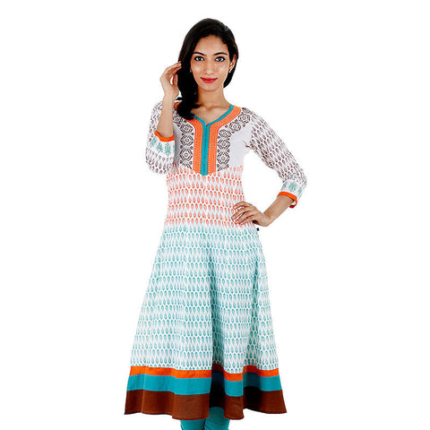 eSTYLe White With Orange Printed Anarkali Kurta With Wide Flare