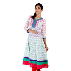 Purplish Printed Anarkali Kurta With Wide Flare From eSTYLe