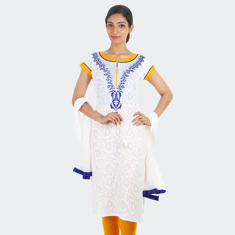 3Pce Suit - White Jacquard Cotton Kurta With Embroidered Yoke, Chudi and Cotton Dupatta