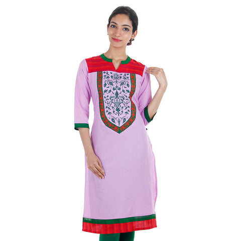 eSTYLe Lavender Cotton Kurta With Closed Collar