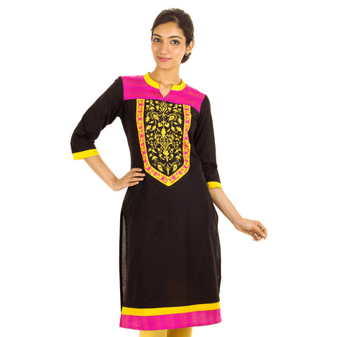 Stunning Black Cottom Kurta With Closed Collar From eSTYLe