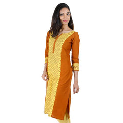 Casual Cotton Sudan Brown Kurta With Lace Work From eSTYLe