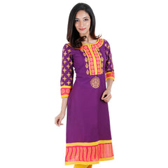 Purple Fantasy eSTYLe Casual Cotton Kurta With Handblock Prints
