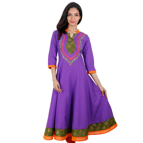 eSTYLe Lavender Punch Anarkali Kurta With Wide Flare